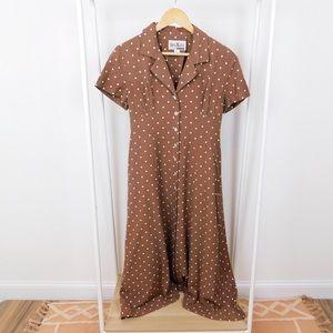 Vintage Brown Polkadot Button Front Midi Dress
